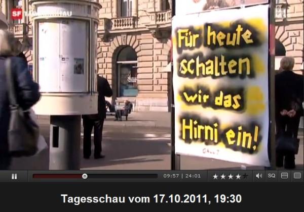 occupy Paradeplatz Zuerich Plakat hirni einschalten